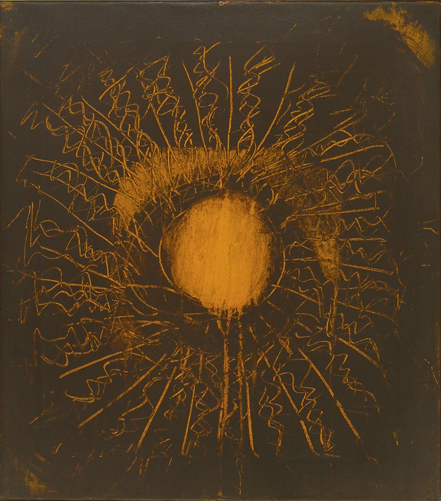 """Bindu , Acrylic on Linen, 1971, 17"""" x19"""""""