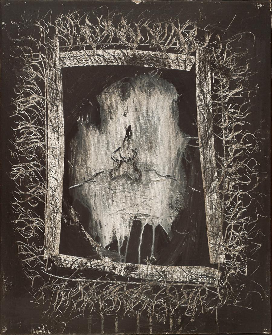 "The Inner Garden, Acrylic on Linen,1969, 17"" x 21"""