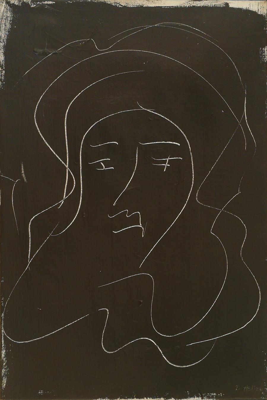 "Head of Athena I,  Acrylic on Linen,1969 16"" x 24"""