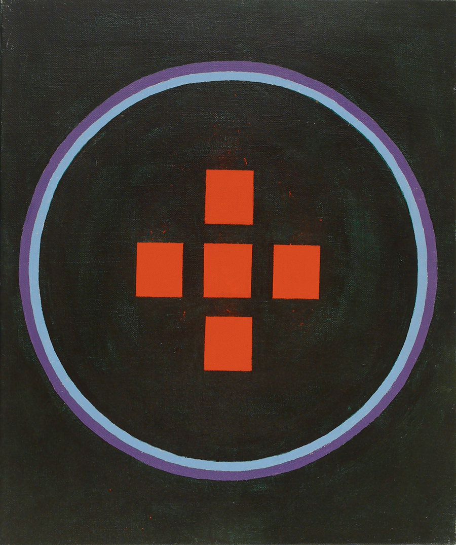 "Magic Circle V Crossing, Acrylic on Linen, 1988,16"" x 17"""