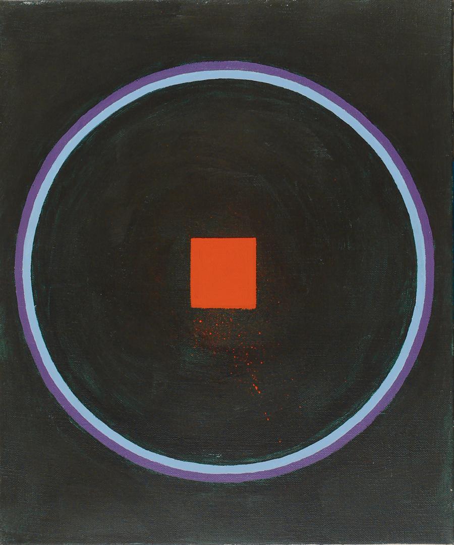 "Magic Circle III(sm red sq),  Acrylic on Linen,1989, 50"" x 52"""