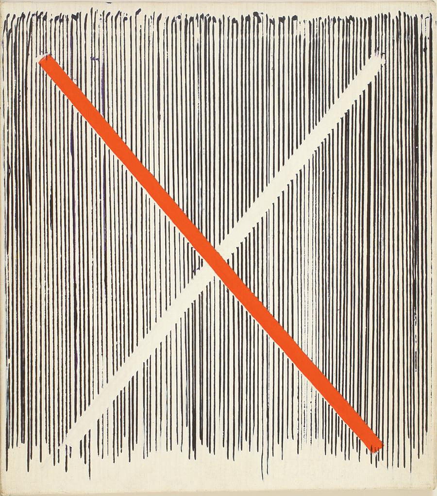 "St Andrew's Cross I, Acrylic on Linen,1982, 14"" x 16"""