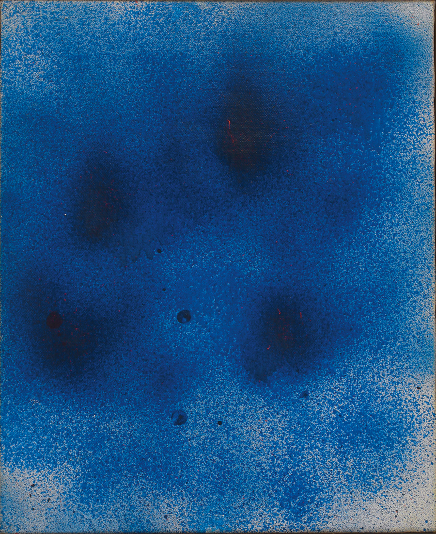 "Primeval Mist II,  Acrylic on Linen, 1986, 12"" x 15"""