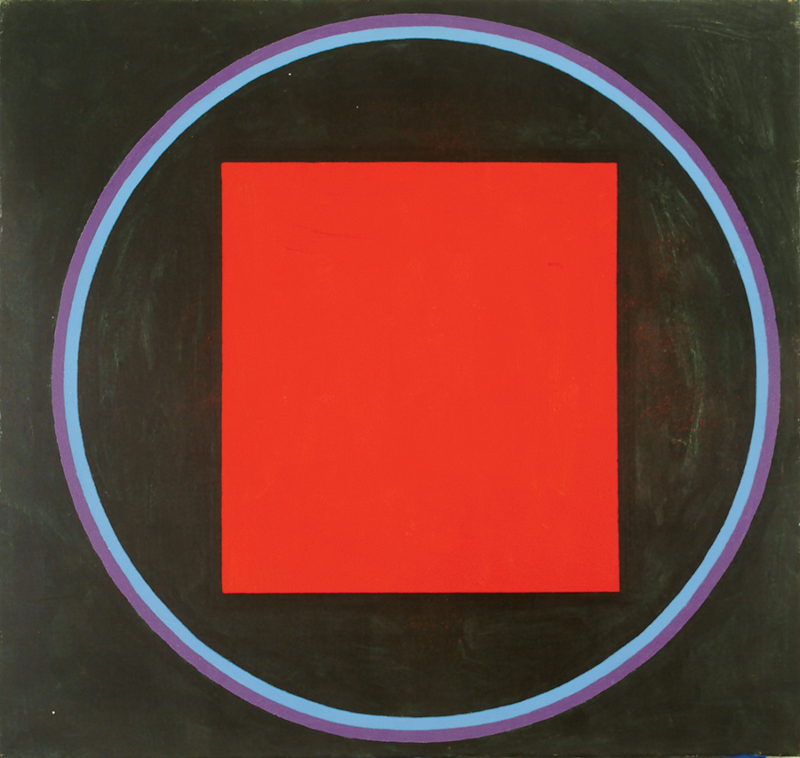 Magic Circle I Red Square , Acrylic on linen, 1988, 10''x12''
