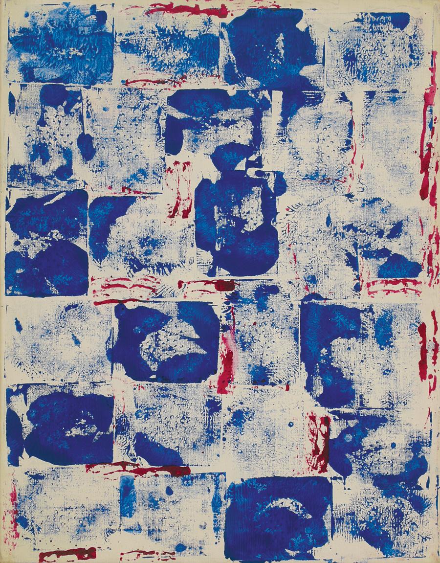 "Scintillae I,  Acrylic on Linen, 1974, 21"" x 27"""