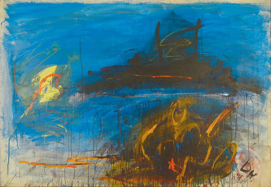"""Night Sea Journey,  Acrylic on Linen, 1960, 75"""" x 51"""""""