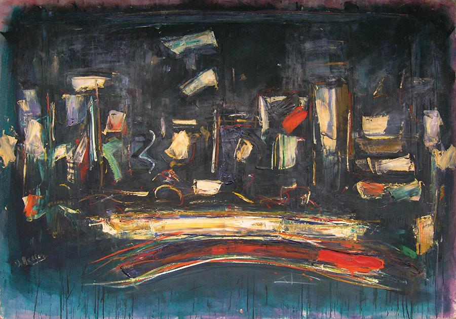 """Night City,  Oil on Linen, 1958, 51"""" x 74"""""""