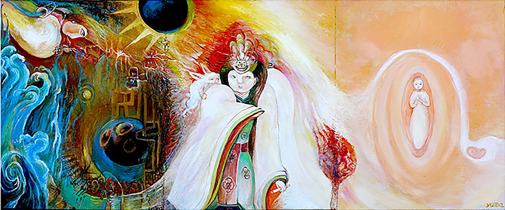 "Last Days of Empress Himiko , Oil on Canvas, 20"" x 48"", 2011 - 2012"