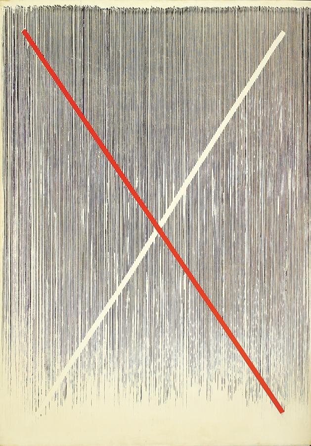 """St Andrew's Cross II,  Acrylic on Linen, 1982, 14"""" x 60"""""""