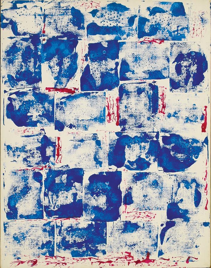 "Scintillae II,  Acrylic on Linen, 1974, 21"" x 27"""
