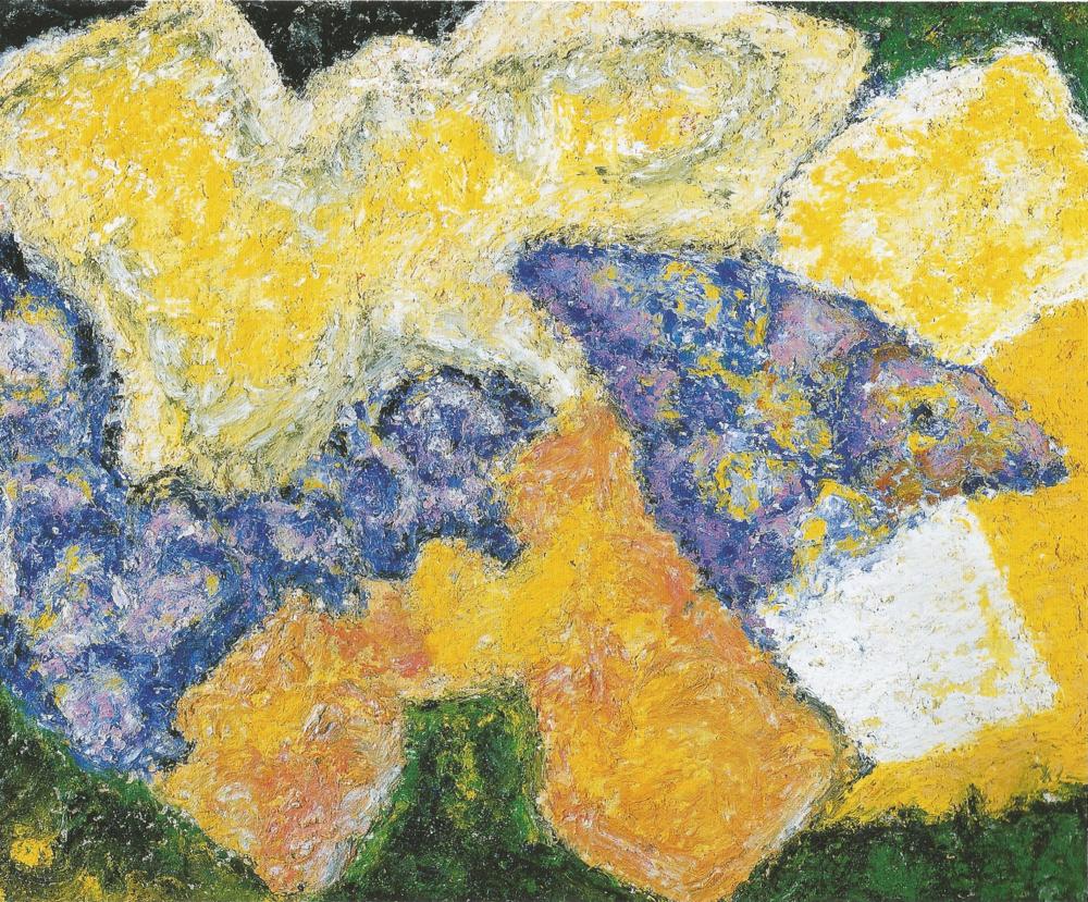 """Vigil: Morning Aura #1,  Acrylic, gels, oil stick on gesso board, 12"""" x 16"""", 2000"""