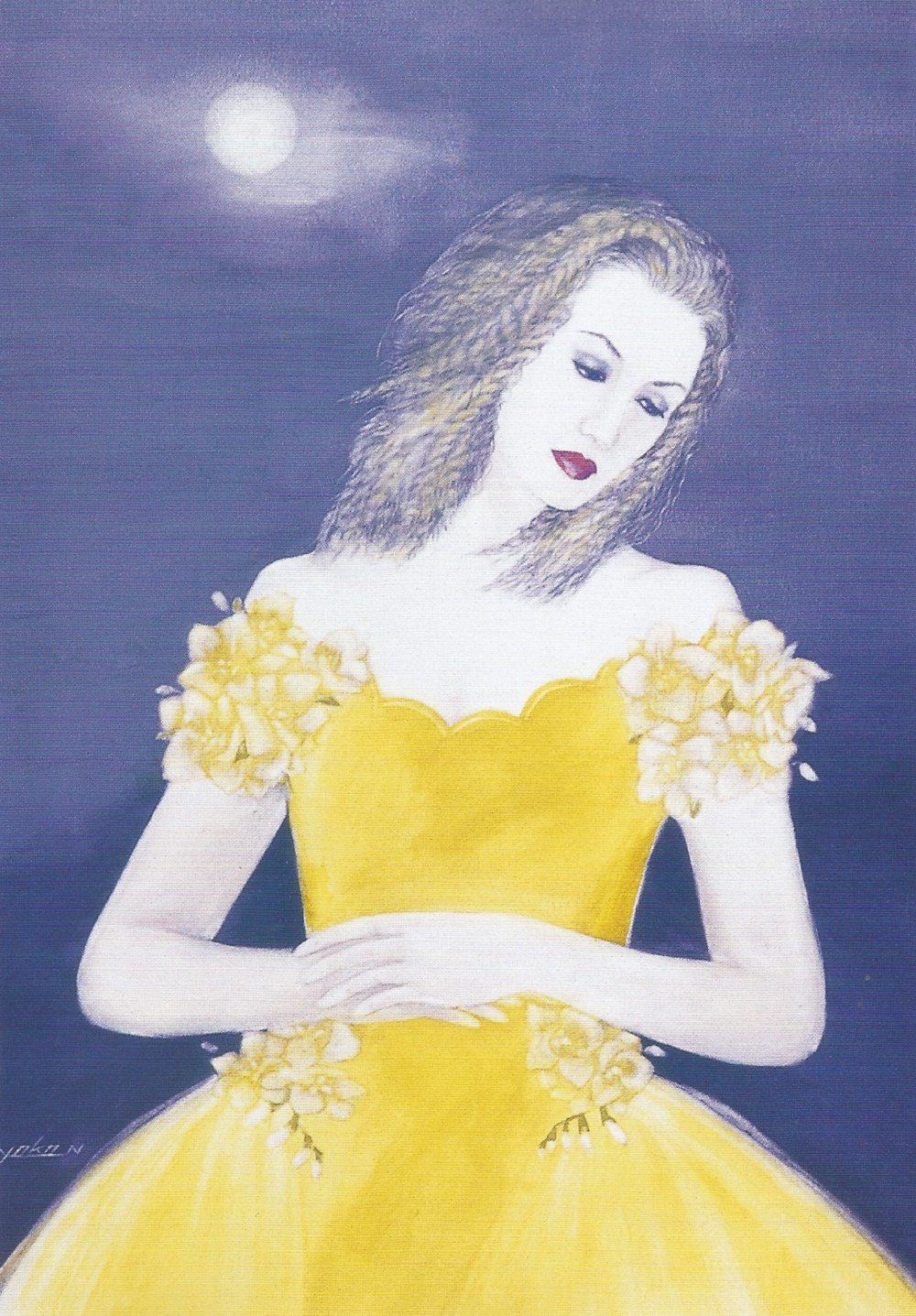 "Yoko Nakagawa: Moonlight Night Party,   Watercolor on paper, 16.8"" x 12"", 2001"