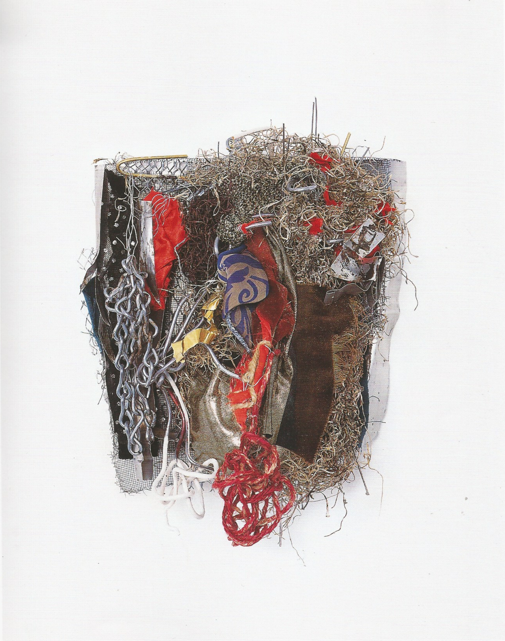 "Re née Lerner: Alchemy   ,   Fabric, moss, wires, metal, chain, hemp, acrylic, tin sheet on aluminum, 14.5"" x 9.5""x 5.5'', 2001"