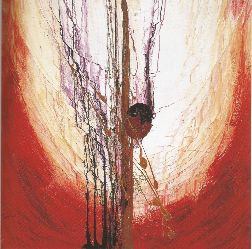"Lawrence Abrahamsen: Arjuna,   Oil, Acrylic, Assorted Metal Powders and Resin, 48"" x 48"", 2001"