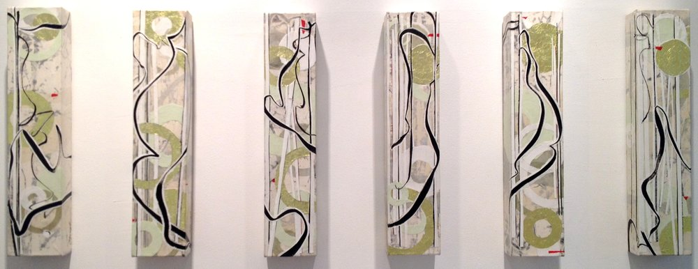 Lowland Wind (6 panels),  Paper Relief on Canvas with Foil, 24 x 5 x 3