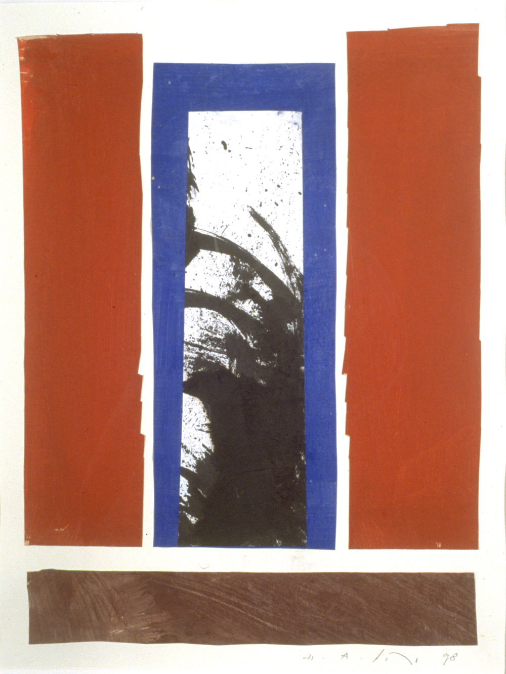 Untitled 14,  Acrylic ink and collage on paper, 20 x 16, 1998