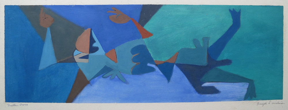 Fallen Cross #3,  Blue Gouache, 7.25 x 21, 1949-1956