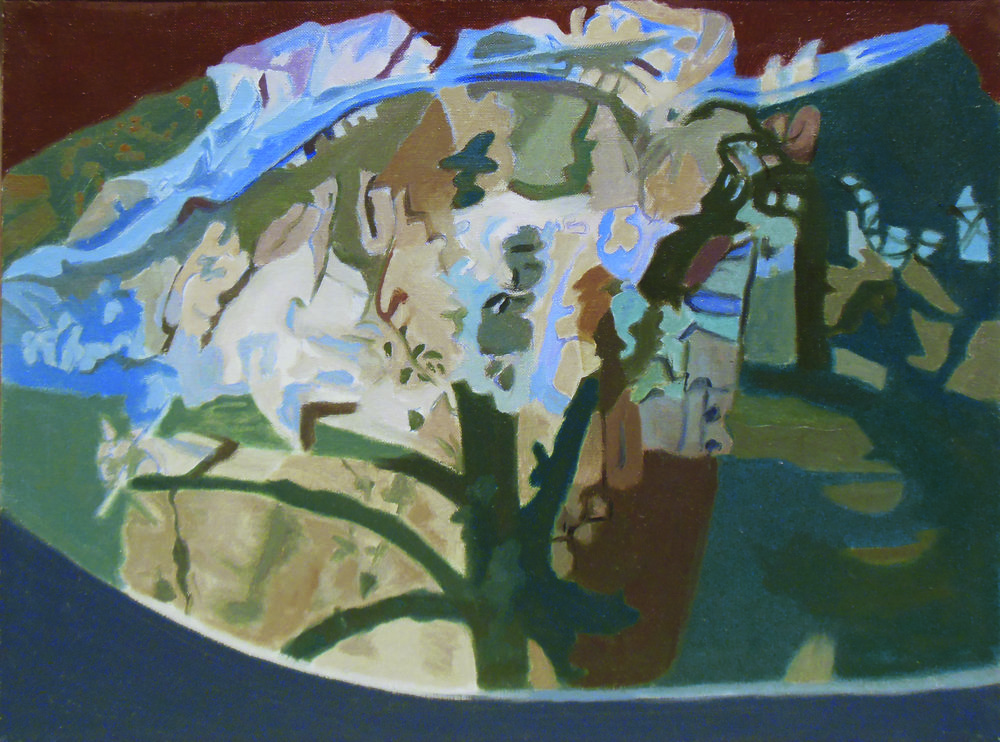 "Ralph Wickiser  Tree Half Covered,  1991, Oil on Linen, 12"" x 16"""