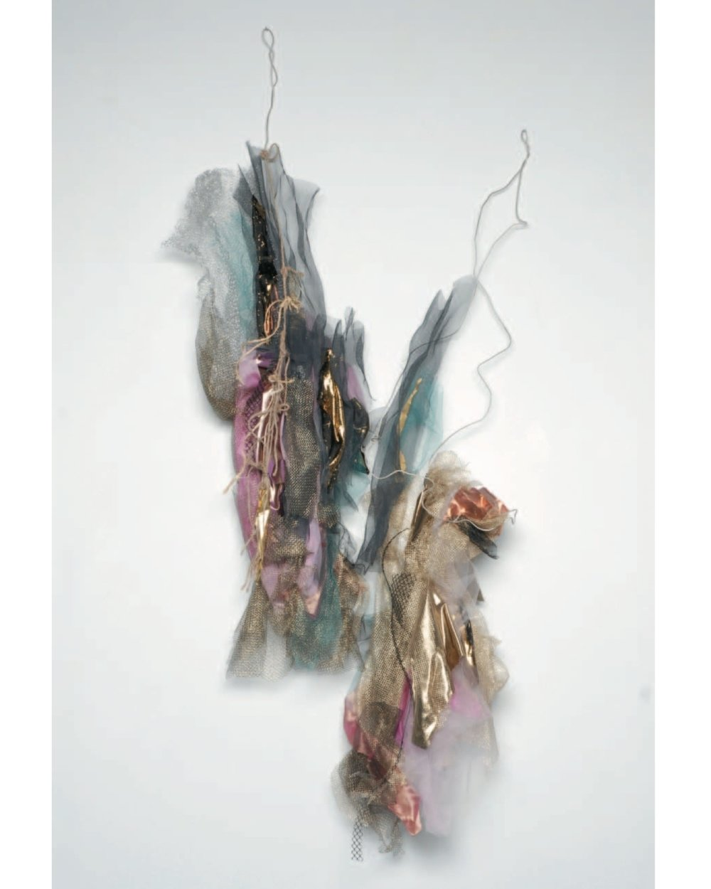 """Renée Lerner    Duo  , mixed media on wire, 66""""x32""""x10"""", 2008"""