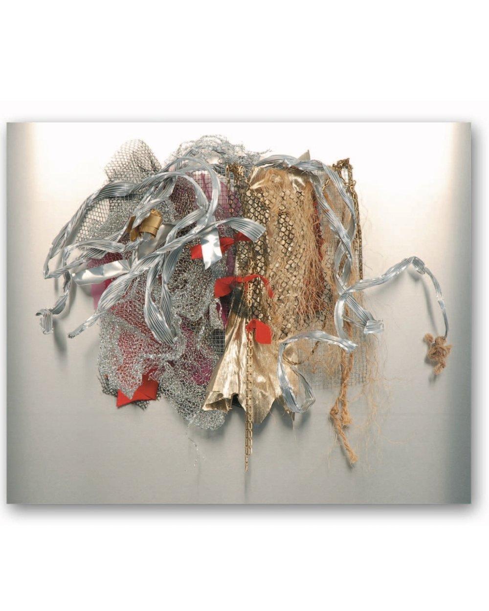 "Renée Lerner    Shield XI Horseplay  , mixed media on aluminum, 23""x28""x7"", 2007"