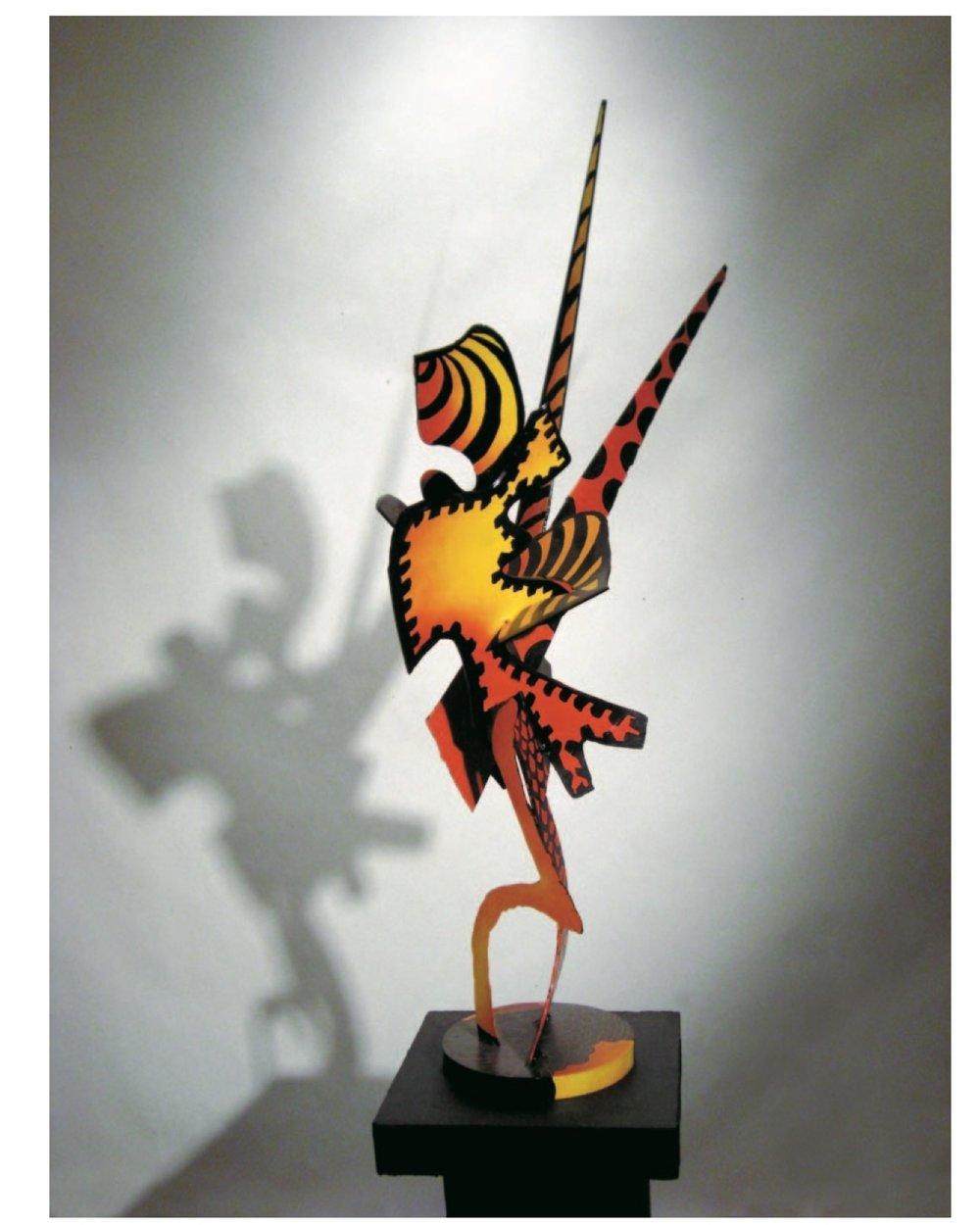 "Richard Pitts    Unicorn  , painted aluminum, 30""x20""x20"", 2008"