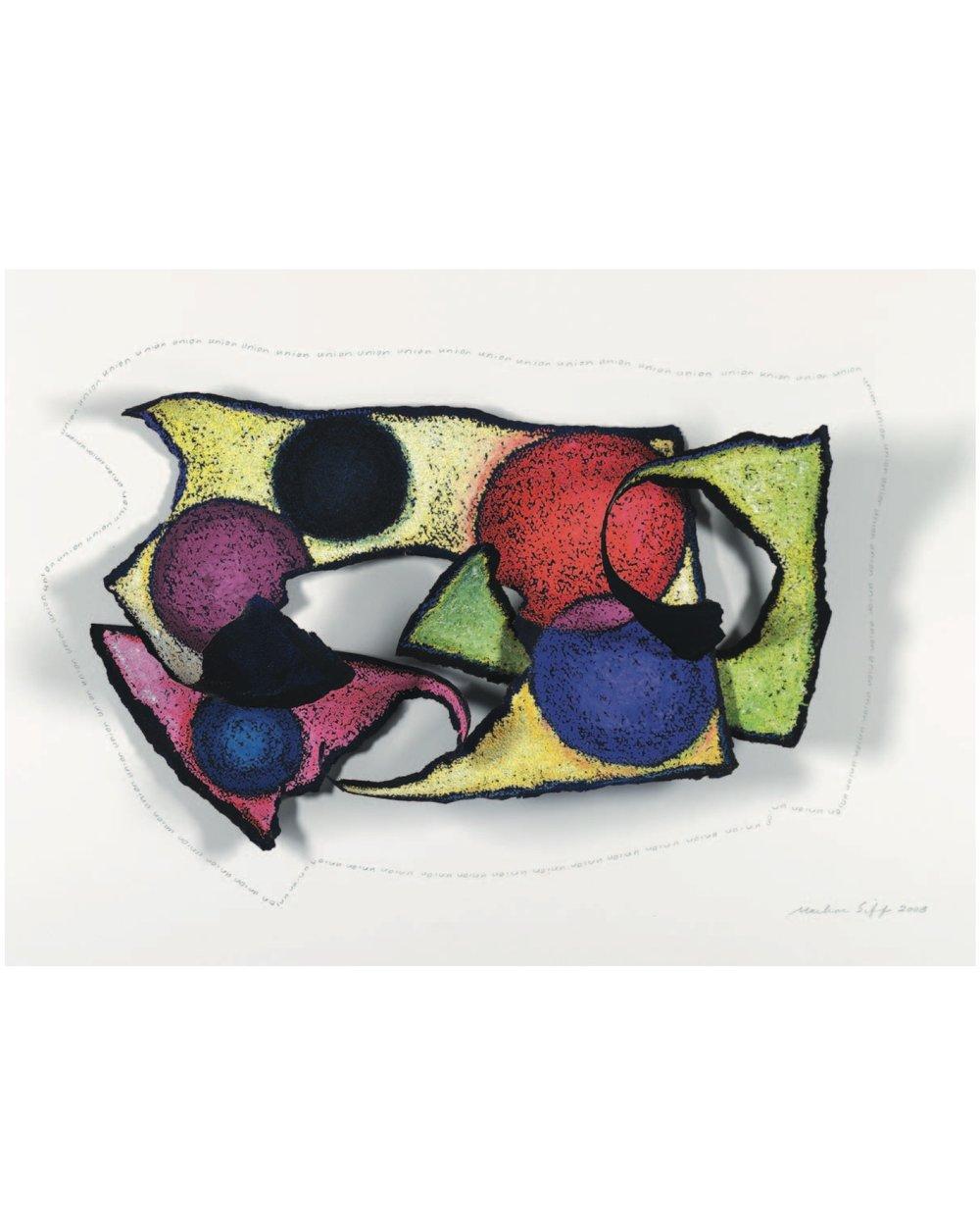 "Marlene Siff    Union  , watercolor, oil pastel, graphite, torn paper, 12""x18""x3"", 2008"