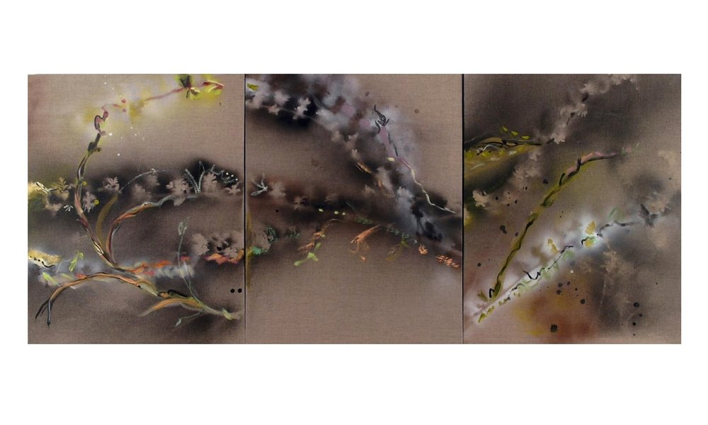 "Kyoto after the Rain   oil, mixed media on linen, 30"" x 24"" (each), Triptych, 2008"