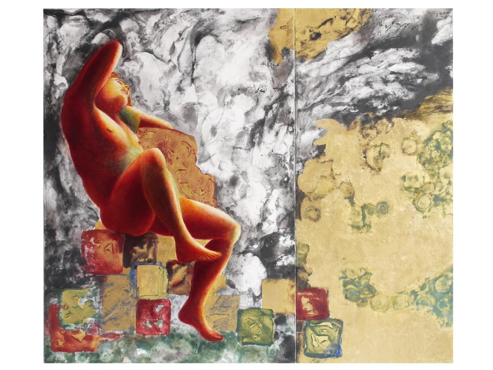 A Part of Eternity No. 46, More Yang than Yin, 2009.  31.5 x 36.2 ins. (Diptych)  Gold leaf (24 carat), natural and mineral pigments in distemper and oil on linen on panel.
