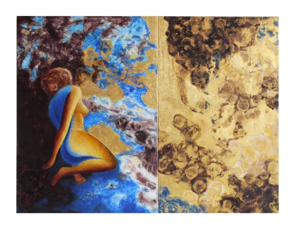 Chromatic Sequence No. 16, Pleroma, the Fullness of Everything and Nothing, 2009.   21.7 x 28.5 ins (Diptych)  Gold leaf (24 carat), natural and mineral pigments in distemper and oil on linen on panel