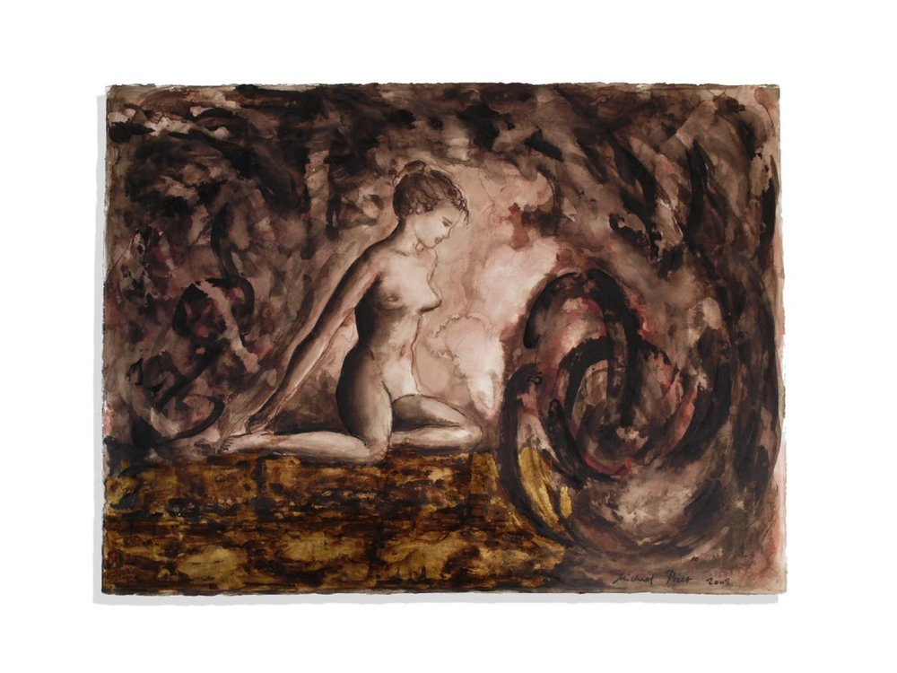 Before Time, 2008.   22.5 x 30 ins.   Bistre ink, wash, red bole and gold leaf (23 carat) on Fabriano paper