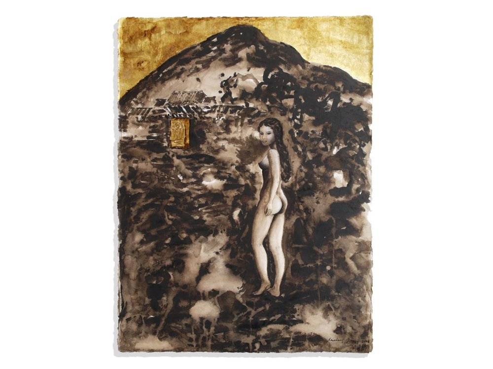 Guardian of Kyung Bok Goong, 2008.   30 x 22.5 ins.   Bistre ink, wash, calcite and gold leaf (23 carat) on Arches paper