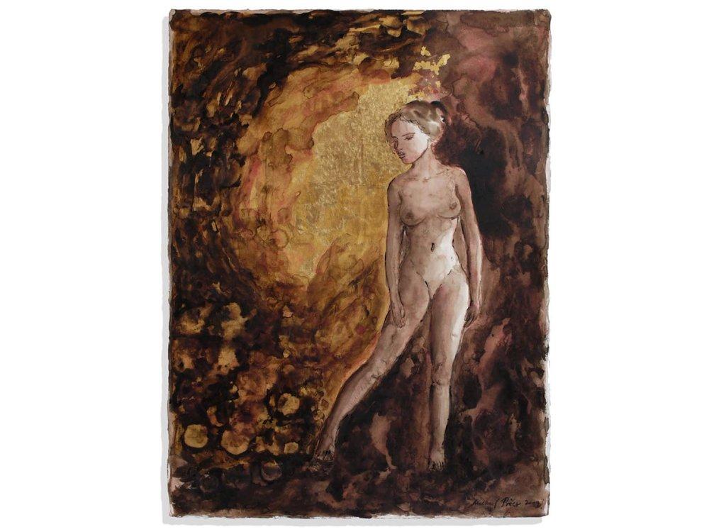 Eternal Garden, 2009.   30 x 22.5 ins.  Bistre ink, wash, cinnabar and gold leaf (24 carat) on Fabriano paper.