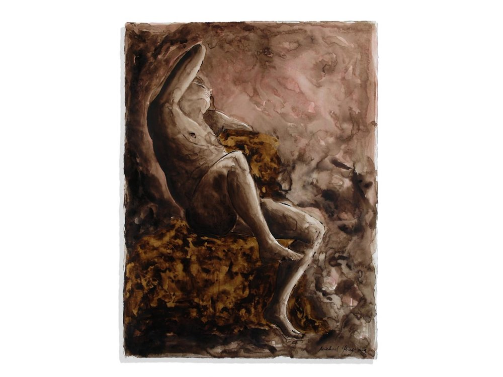 The Barberini Faun, 2009.   30 x 22.5 ins.  Bistre ink, wash, cinnabar and gold leaf (24 carat) on Fabriano paper.