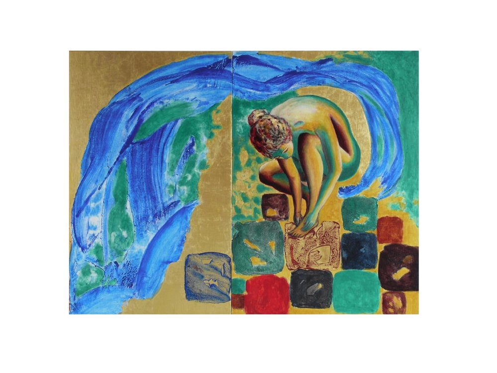 Chromatic Composition No. 14, Just Venus Again, 2009.   23.6 x 25.6 ins.   Gold leaf (24 carat), natural pigments and minerals in tempera and oil on linen on panel