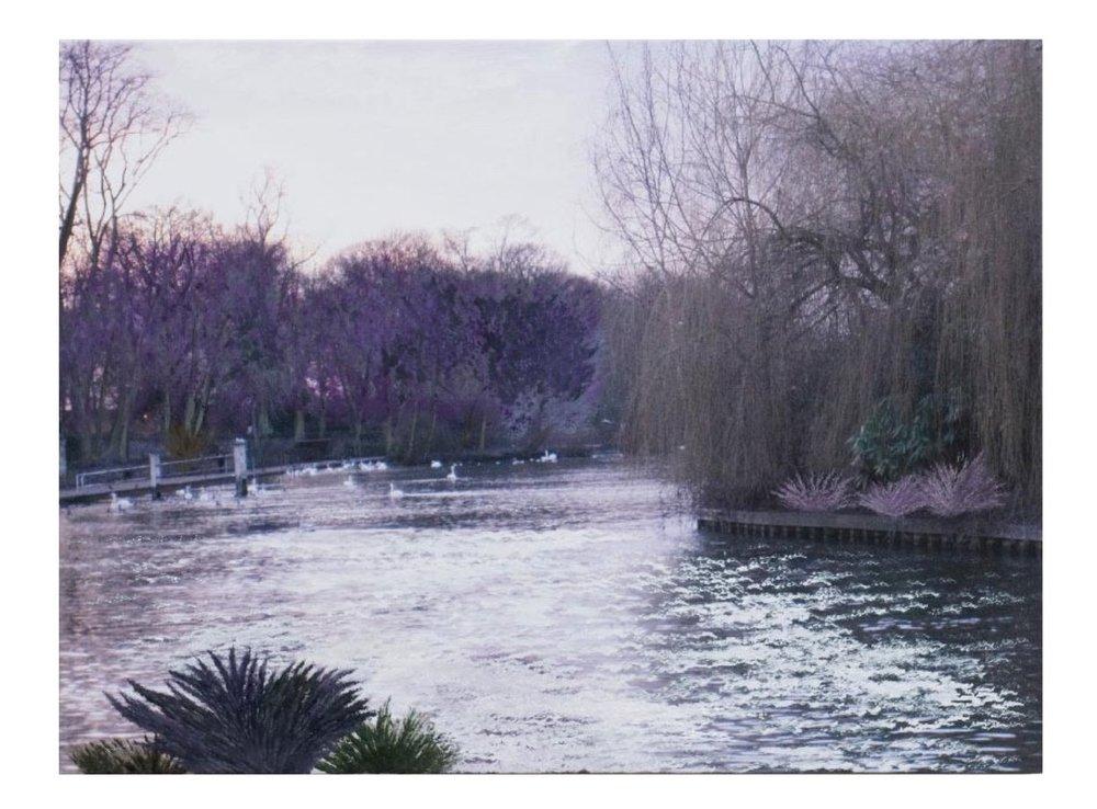 "English Countryside 3:52P.M.   Oil on digital print 32"" x 43"", 2009"