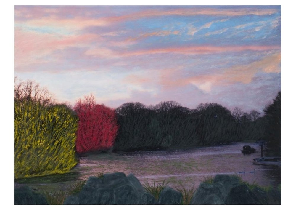 "English Countryside 3:58P.M.   Oil on digital print, 32"" x 43"", 2008"