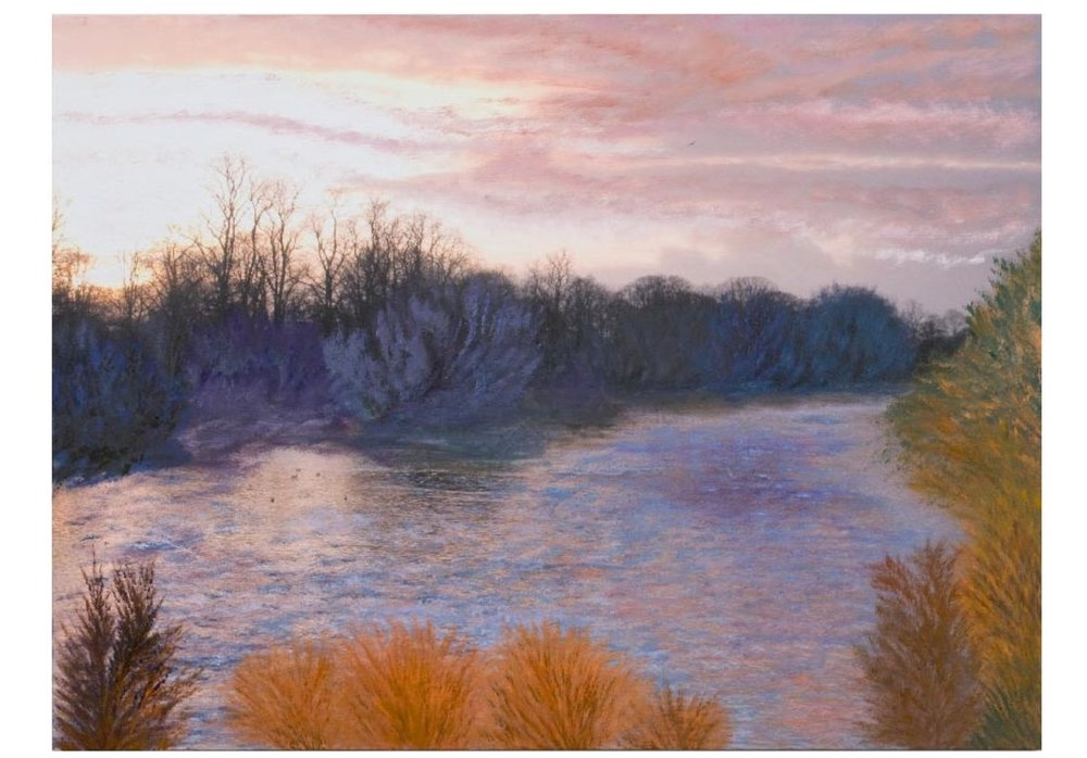 "English Countryside 4:00P.M. -2   Oil on digital print, 32"" x 43"", 2008"
