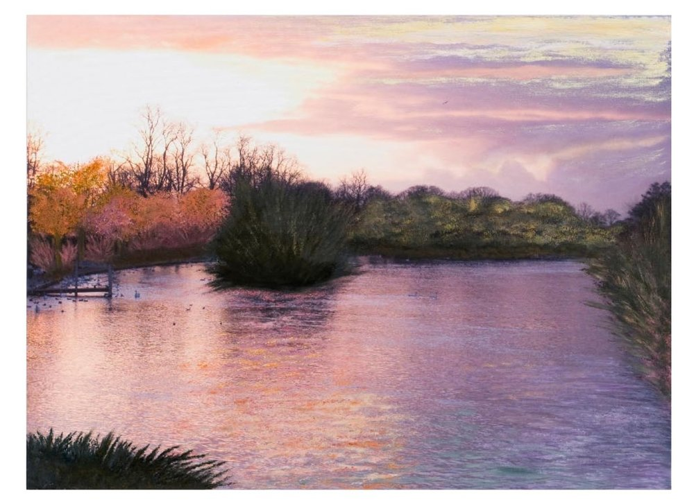"English Countryside 4:00P.M.   Oil on digital print 28.5"" x 38""  2008"