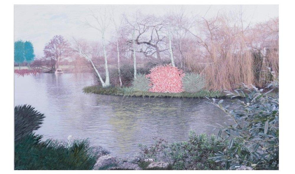 "English Countryside 3:44P.M. -2   Oil on digital print 36.5"" x 49"", 2009"