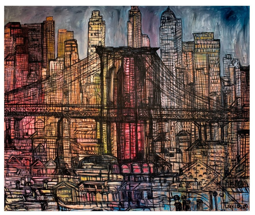 "Brooklyn Bridge    oil on linen, 60"" x 72"", 2008"