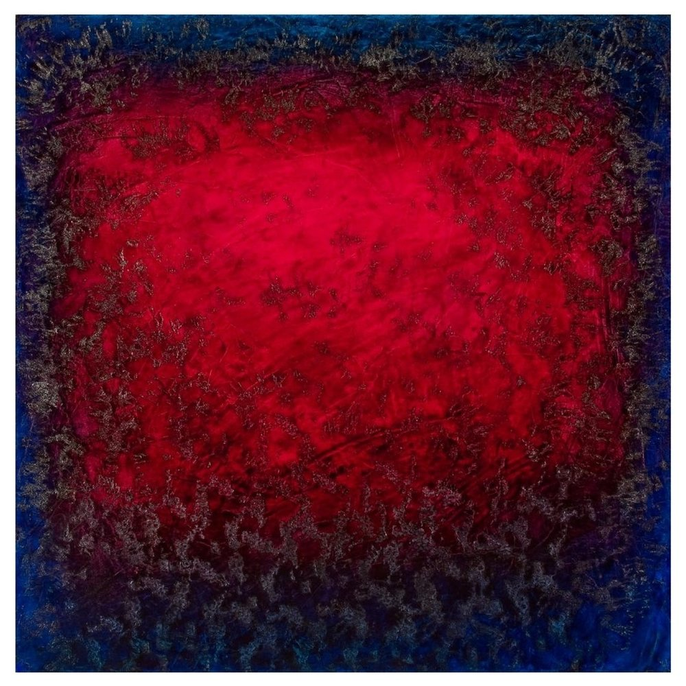 "Ron Clark    Seduction: Silver & Aquamarine,   Oil on canvas 36"" x 36"" 2008"