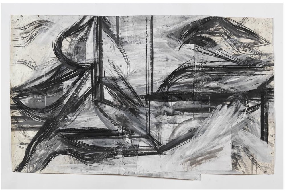 "Peter Hoss    Forms (191),   mixed media on paper 37.5"" x 62""  2008"