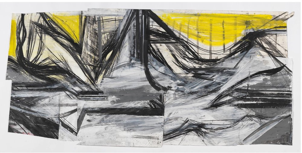 "Peter Hoss    Landscape (192),   mixed media on paper 28.25"" x 59"", 2008"