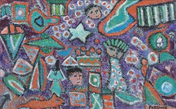 "Circus Spirit V  , 2010, Acrylic and sand on canvas, 20"" x 32"""