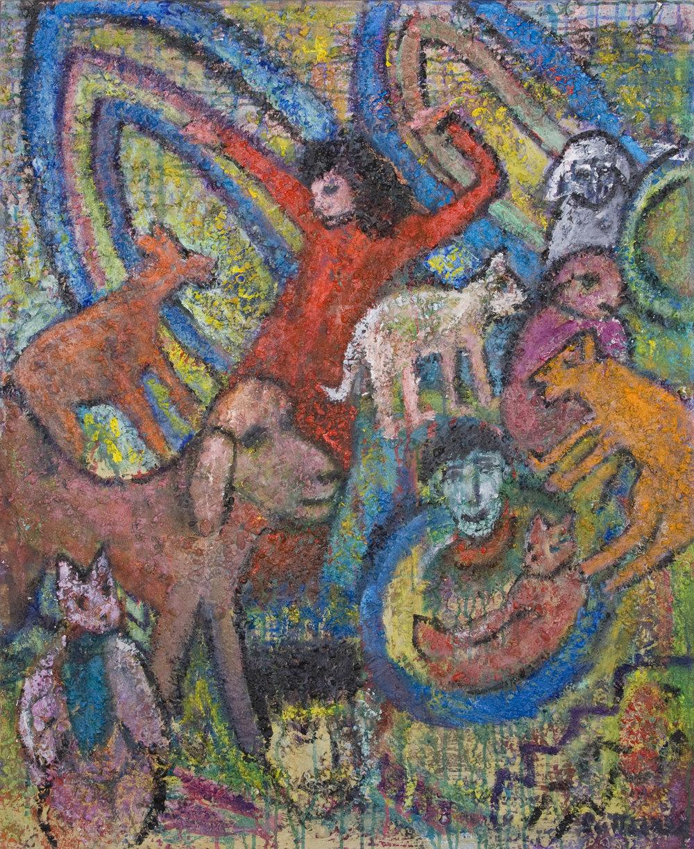 """Gigi Me + Friends  , 2010, Acrylic and sand on canvas, 48"""" x 40"""""""
