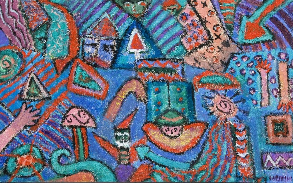 "Circus Spirit IV  , 2010, Acrylic and Sand on Canvas, 20"" × 32"""