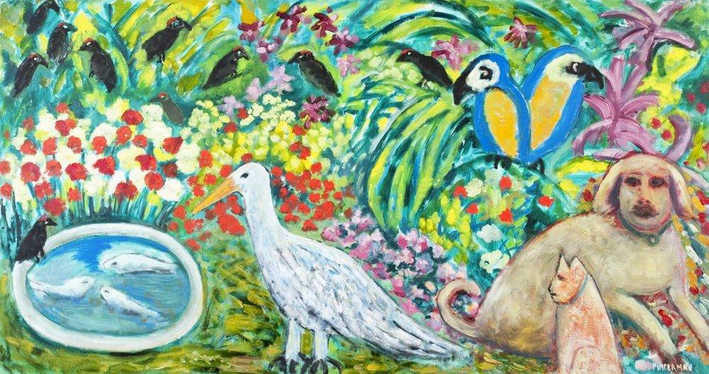 "Sarabeth's Garden V  , 2010, Oil on Canvas, 38"" × 72"""