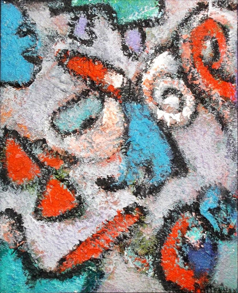 """Totemic Influences I  , Acrylic & Sand on Canvas, 10"""" × 8"""""""