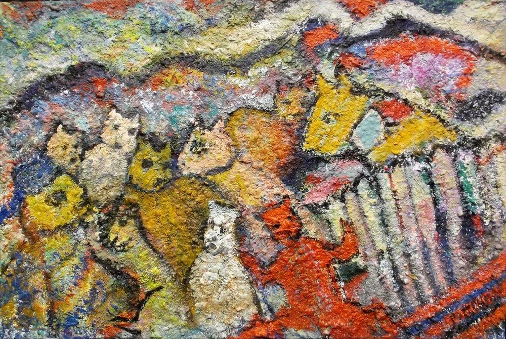 "Animal Kingdom  , 2009, Acrylic Sand on Canvas, 24"" × 36"""