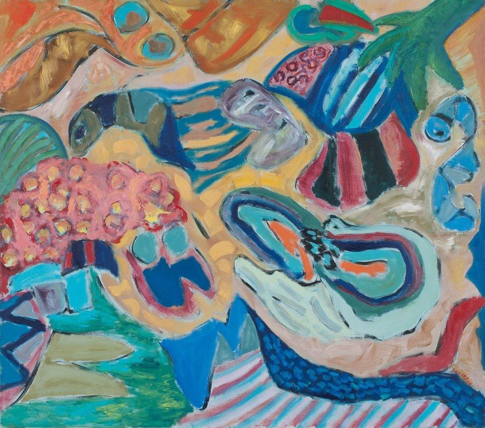 "Spirits & Essences  , 2011, Acrylic, 62"" × 70"""